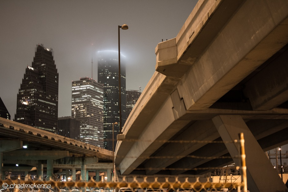 Downtown Houston shot at night from Ecclesia Church