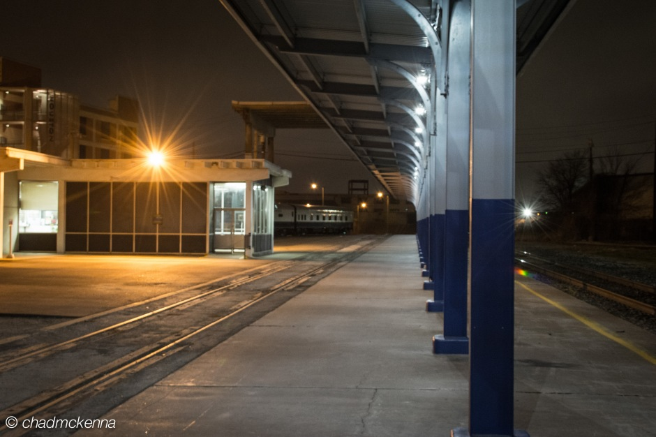 Houston Amtrak station at night