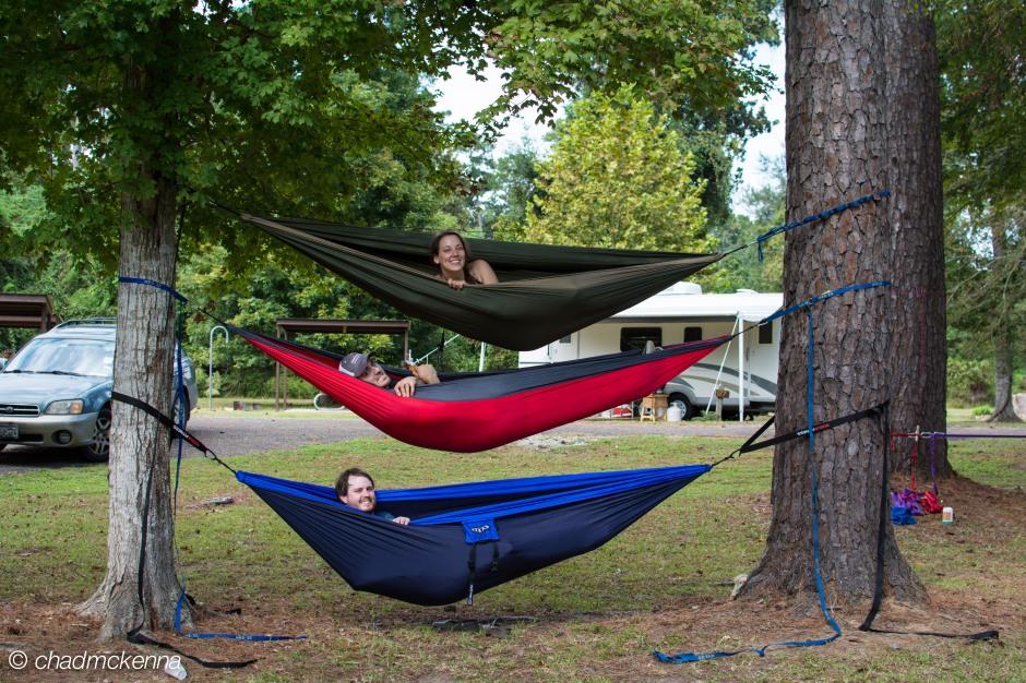 Triple stacked hammocks